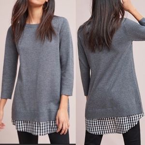 Anthro Moth Pre-Layered Sweater Tunic: Grey
